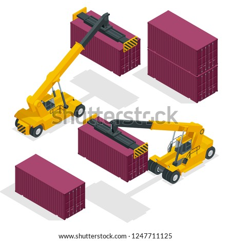 Isometric Mobile Container Handler in action at a container terminal. Crane lifts container handler Isolated vector illustration
