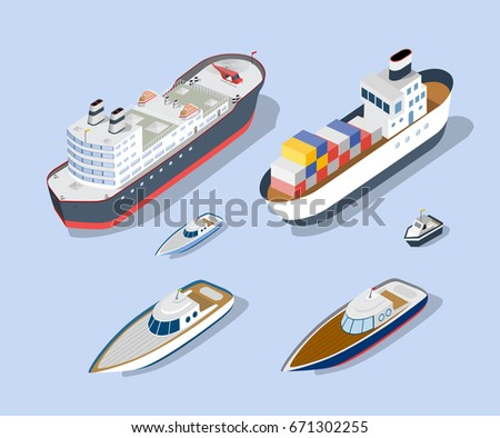 Isometric models of ships, yachts, boats and sea freight vehicles industry