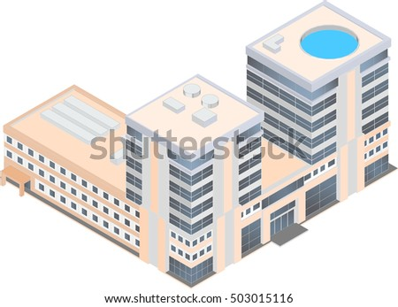 isometric modern business center on a white background