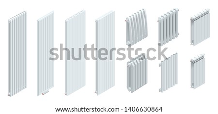 Isometric modern Heating radiators isolated on white background. Interior detail with radiator ant wall.