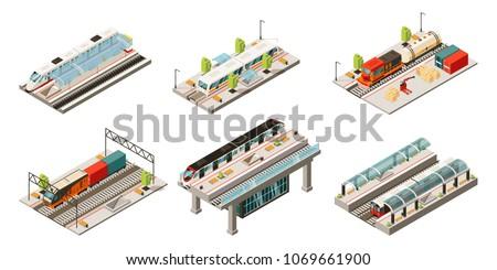 isometric modern railway