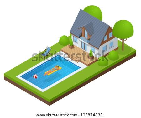 isometric modern villa outdoor