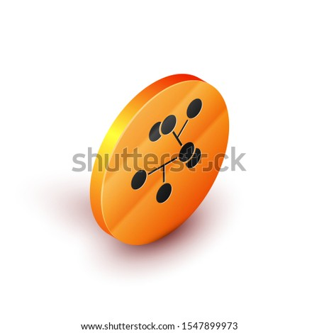 Isometric Molecule icon isolated on white background. Structure of molecules in chemistry, science teachers innovative educational poster. Orange circle button. Vector Illustration