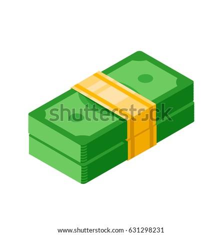 Isometric money icon.