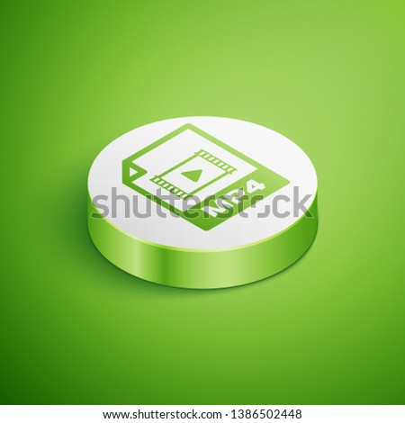 Isometric MP4 file document icon. Download mp4 button icon isolated on green background. MP4 file symbol. White circle button. Vector Illustration