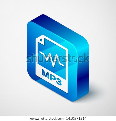 Isometric MP3 file document icon. Download mp3 button icon isolated on white background. Mp3 music format sign. MP3 file symbol. Blue square button. Vector Illustration
