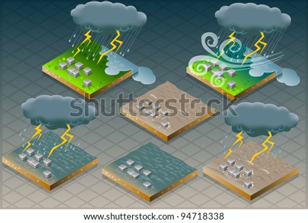 isometric natural disaster flood mud terrain - stock vector