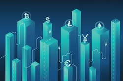 Isometric neon background.bitcoin crypto,mining server farm room,ultraviolet virtual currency isometric investment into cryptocurrency,analysis statistics growth chart.Blockchain.marketing techniques