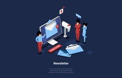 Isometric Newsletter Conceptual Vector Illustration In Isometric Style. Businessmen Planning News Mailing For Customers. 3D Cartoon Composition Of Service Providing Information Using Digital Sources