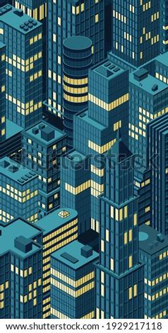 isometric night city centre