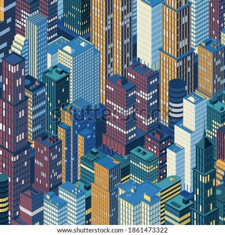isometric night city skyline