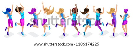 Isometric of a large set of female athletes jumping, running, front and back view, beautiful hairstyles for sports, clothes and sneakers #1106174225