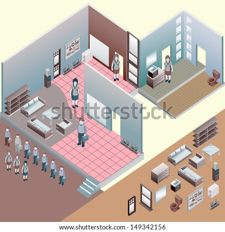 isometric of interior room