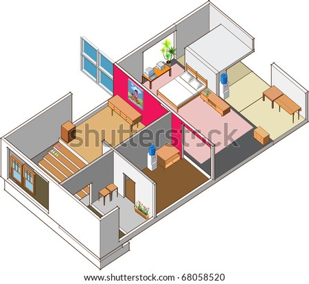 isometric of modern house interior
