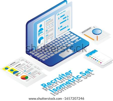 Isometric of Recruiter Set with Laptop, Curicullum Vitae, Assessment, Gadget create with Adobe Illustrator CC 2019