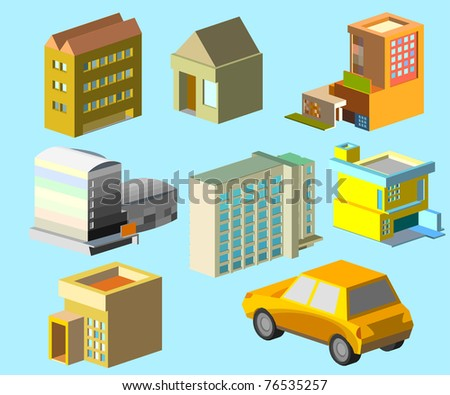 isometric of urban building group