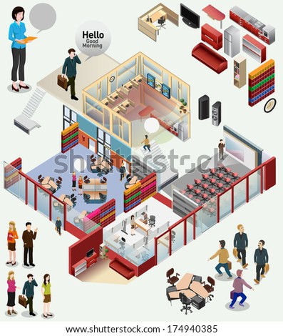 isometric of workstation office awesome office table top view shutterstock id