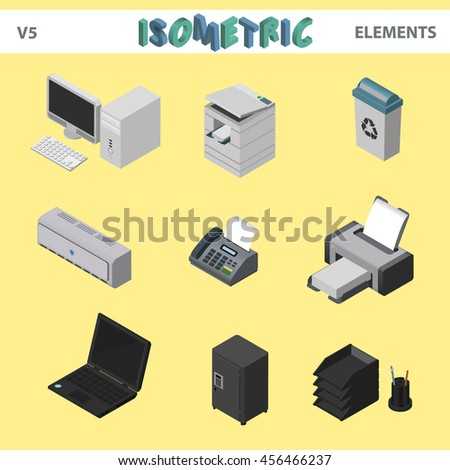 isometric office elements