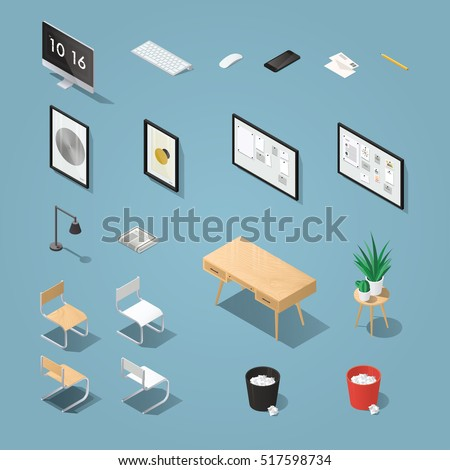 isometric office furniture and