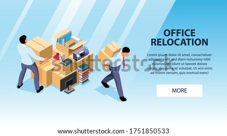 Isometric office move horizontal banner with editable text more button and images of people moving boxes vector illustration ストックフォト ©