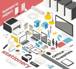 isometric office object vector illustration flat design