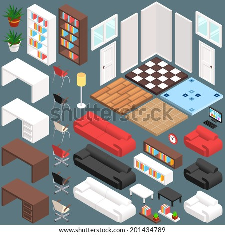 Isometric office planning 3d vector creation kit for Free 3d office planner