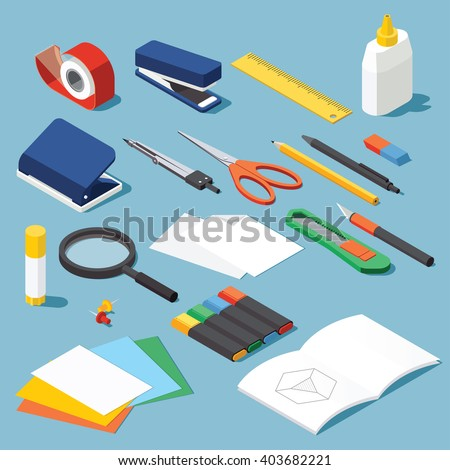 Isometric office stationery set. Collection includes adhesive tape, stapler, ruler, tube glue, hole puncher, dividers, scissors, pen, eraser, knife, magnifier, open book, paper, marker. Stock vector.