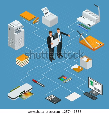 Isometric office tools concept. Vector icons illustration stapler, laminator, binder, office knife, multifunctional office printer, office cutter