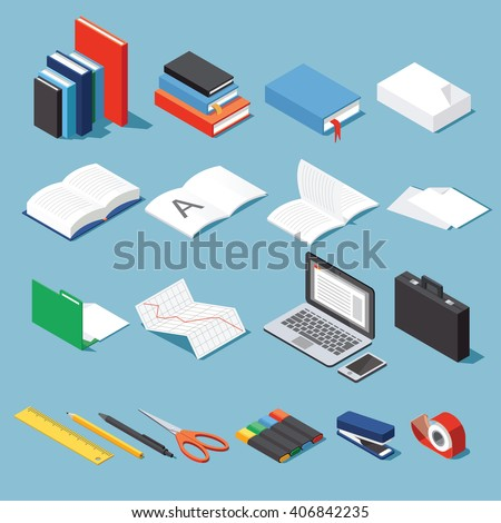 Isometric office tools & stationery set: paper, books, folder, pen and pencil, scissors, laptop, stapler, tape, case, diagram, open book and notebook. Base for your business / education illustration.
