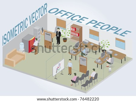 Isometric office with people. Full pack of furniture including accessories. All objects are editable. All Items are isolated and can be used as an icons.