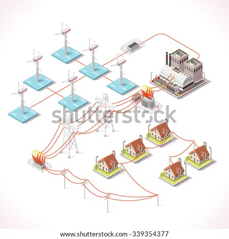 electric generator power plant electricity isometric offshore wind farm 3d power plant grid factory electric generator station electricity vector images illustrations and cliparts