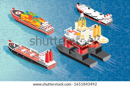 Isometric Oil Rig, Cargo Ship Container, LNG Carrier Ship and Oil Tanker. Vector Illustration. Shipping Freight Transportation. stock photo