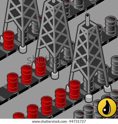 isometric oil towers in production of oil barrels.