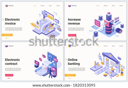 Isometric online account banking technology vector illustration. Creative modern concept banner set, website design with cartoon 3d tech bank accounting service, electronic money invoice and contracts