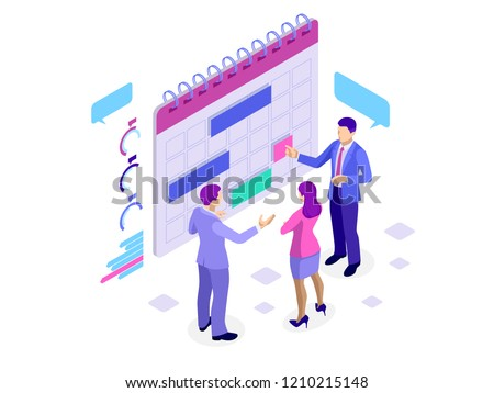 Isometric online business schedule, planning schedule, news, reminder, and events concept. Vector illustration