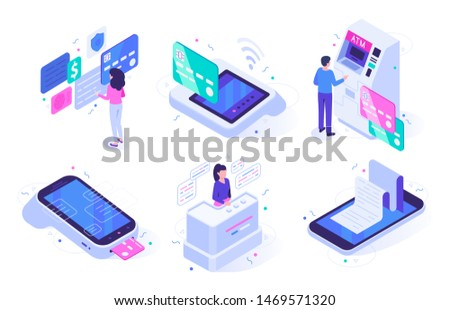 Isometric online cashier. Cash register terminal purchase checkout, sales outlet with buyers and atm customer. Banking payment cashier services. Isolated vector illustration icons set