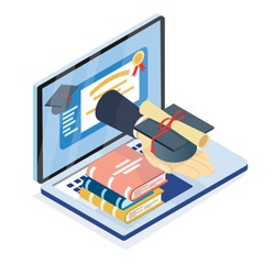Isometric online education, E-learning, Hand form laptop holding Degree hat and Certificate or Diploma, online education or learning form home concept.