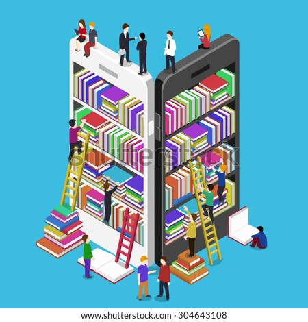 Isometric online mobile library vector flat concept. E-books 3d illustration with micro people