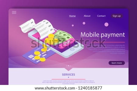 Isometric online payment online concept. Electronic bill, online payment sms notification, pay history, smartphone with credit card. Concept mobile payments. Money transferring via smartphone app