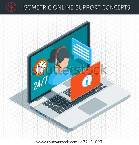 Isometric online support concept. Flat female support and client service staff worker. Highly detailed vector illustration