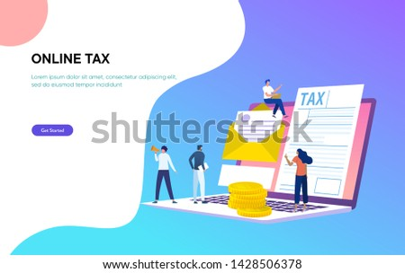 isometric online tax payment vector illustration concept, people filling tax form, people submit digital tax via website , can use for, landing page, template, ui, web, homepage, poster, banner, flyer