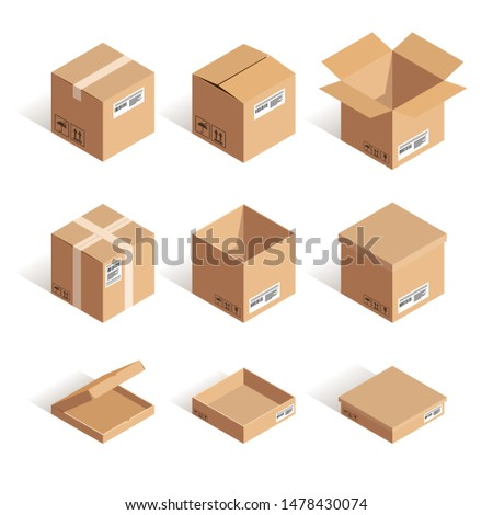 Isometric opened and closed carton box set isolated on white background. 3d online shipping, delivery, storage vector illustration. Can use for web, apps, infographics