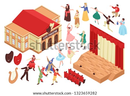 Isometric opera theatre set with isolated images of theater building stage seats and characters of entertainers vector illustration