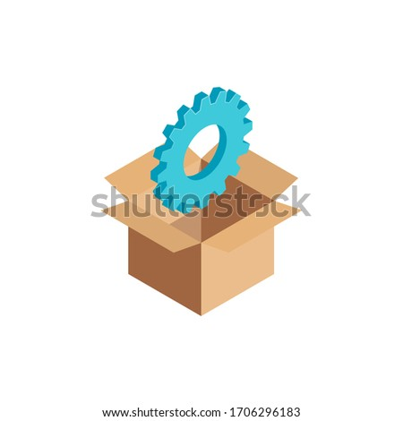Isometric Option Service Tools symbol, Gear Sign, 3d Setting icon in open cardboard box. Configuration element, warehouse help options, data storage concept. Vector Illustration infographic, web, app