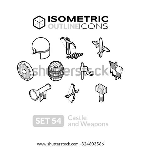 isometric outline icons  3d