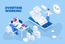 Isometric overtime working concept. Planning time business management. Casual tired office worker using a computer and doing overtime project.