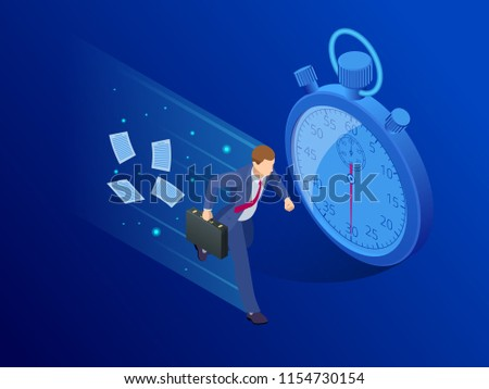 Isometric Panic deadlines concept. Lack of time concept. Vector illustration