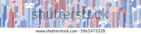isometric panoramic cityscape