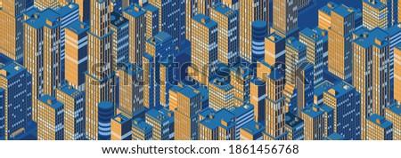 isometric panoramic night city