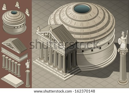 isometric pantheon building